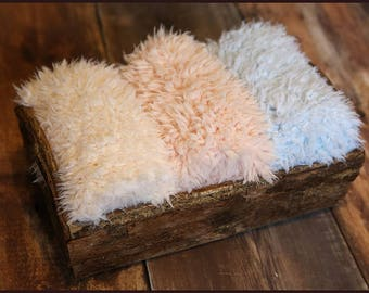 Faux Fur Newborn Photo Prop * super soft basket filler stuffer and bean bag covering * yellow, peach, baby blue * flokati alternative