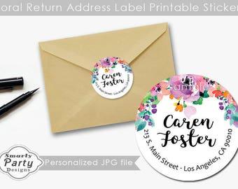 """Floral Return Address label sticker, Return Address labels printable, Wedding Return Address Labels, 2"""" Round Stickers"""