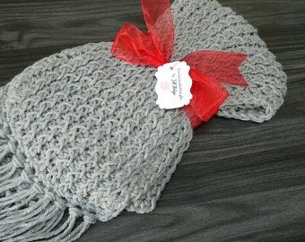 Soft Gret Knit Scarf; Crochet; Ladies Warm Accessory; handmade handcrafted; knitted accessories girls scarf; Long Gray Silver; Winter Gloves