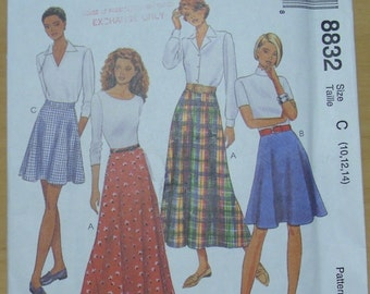 Free shipping! McCall's 8832 Flared skirt pattern 10-12-14 UNCUT