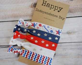 5 pcs set Hair Ties-Happy Independence Day- Red/White/Blue Hair Ties - 4th July/Indepenceden day/Holidays/Gift- Toddler to Adult