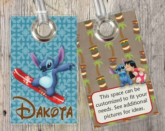 Lilo and Stitch - Hawaiian - Ohana - Disney - Custom Tags for Backpacks, Luggage, Diaper Bags & More!