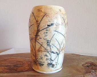 Vintage Studio Pottery Vase Abstract Meadow