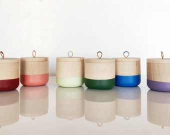 Small Color Dipped Wooden Canister, Spice canister, wooden container with top, spice canister by Willful