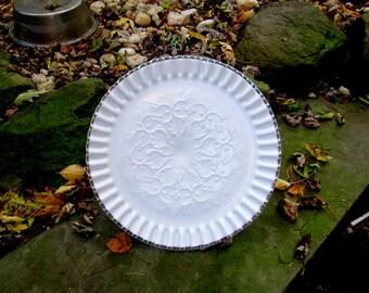 fenton Spanish lace milk glass silver crest cake plate, cake server, cake stand