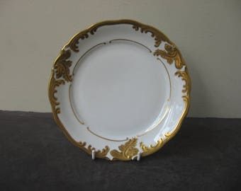 Vtg WALBRZYCH Heavy GOLD GILT on White Salad Plate Made in Poland