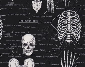 Timeless Treasures Fabric, Glow in the Dark Skeletons, Halloween, 100% cotton