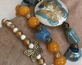 Vintage 'Naughty Bits' Stacking Bracelets Set of Three