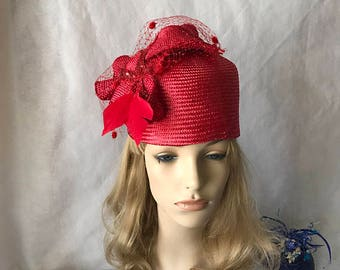 Red church hat, red formal hat, red mother of the bride hat, tea party hats and fascinators, red wedding hat, race hats