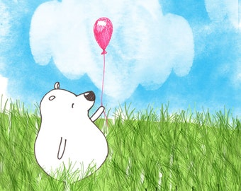 Bear with pink balloon numbered edition fine art print of an original illustration 5 x 5
