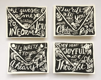 Occasion cards -FOUR PACK - notecard - card - typography - greeting card