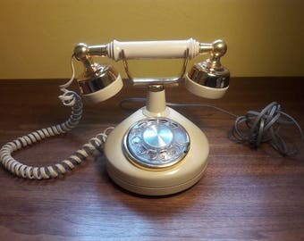 Hollywood Regency glamour telephone with rotary dial and gold accents - Western Electric - VG Condition