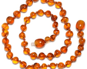 Hand Made Baltic Amber Teething Necklace for Babies - Safety Knotted - Genuine Certified Amber - Cognac Color