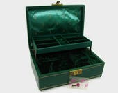 Mele Jewelry Box Musical with Key, Green 2 Tier Jewelry Box, Thorens Working Music Box Made in Switzerland, Always