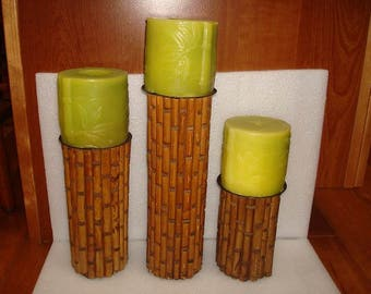 Set Of Three Bamboo Style Wood And Black Wrought Iron Candle Holders With Candles