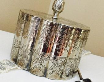 Vintage Silver Keepsake Box Valentines Day Gift Box Hearts And Kisses Box