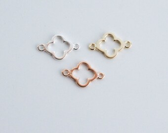 Tiny clover connector - silver clover connector - gold clover connector - rose gold vermeil connector -