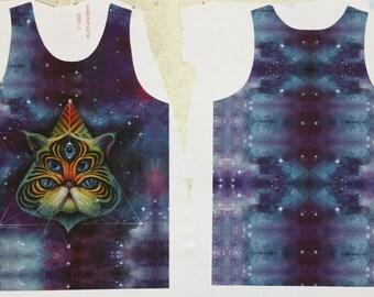 Intergalactic Feline - Unisex Tank Top, wearable art, cat shirt, cat tank, space cat, galaxy art, third eye art, trippy art, visionary art