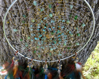 Native Wind Hand Woven Bohemian Tribal 9 Inch Dream Catcher in Silver by The Emerald Lotus