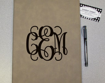 Personalized Leatherette Portfolio with Inside Quote - Light Tan - Monogrammed Portfolio