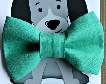 Teal Linen Bow Tie for Cat, Dog Bow Tie, Collar Accessory, Pet Wardrobe, Handmade in Canada, Slip On Collar Accessory, Wedding