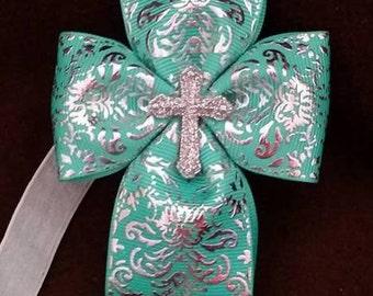 Cross Hair Bow...Cross Headband...Christian Hair Bow...Christian Headband...Easter Hair Bow...Easter headband