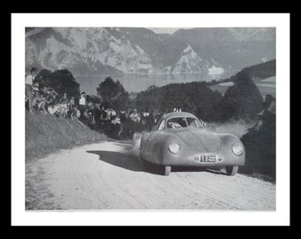 Porsche Type 64 1955 Classic Road Racing with Otto Mathe.  BW Photo of the odd looking awesome racer ad for Bardahl oil.  Vintage car/oil.