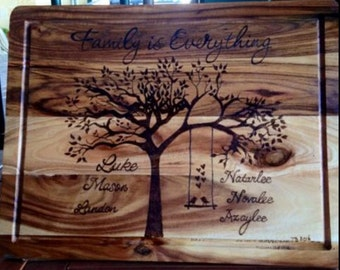Personalised Pyrography Cutting Board 'Family is Everything'