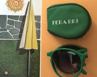 1980s Fold Up Ferarri Bright Green Wayfayer Sun Glasses Never Worn
