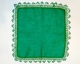 Green Tatted Edge Linen Handkerchief