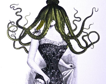 Lady Cthulhu Octo Pussy Card with Envelope Steampunk Vintage