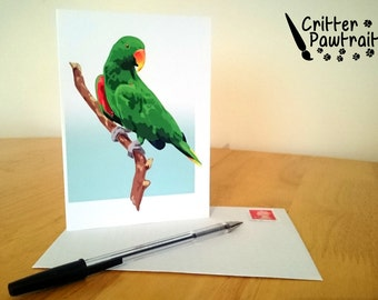 Critter Pawtraits Eclectus Parrot Greetings Card Exotic Bird Blank Inside Special Occasion Birthday Anniversary Thank You Good Luck Message