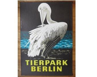 Original Zoo / Tierpark Advertising Poster- Berlin (GDR/East Germany) 1978 - Kurt Walter- Pelican design