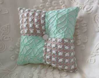 Pillow Vintage Chenille Morgan Jones and Cabin Crafts in Mocha and Mint Green...12 x 12""