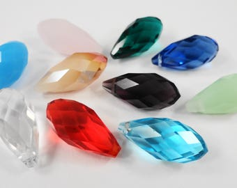 Crystal Briolette Beads 20x10mm (10x20mm) Multi Color Rainbow Crystal Beads, Faceted Glass Drop Beads, Chinese Crystal Teardrop Beads, 10pcs