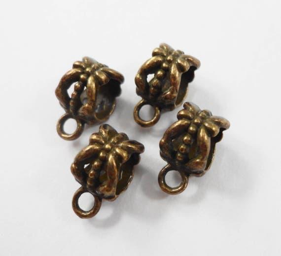 Bronze Bails 11x8mm Bronze Jewelry Bails, Antique Brass Bails, Necklace Bails, Bracelet Bails, Metal Jewelry Findings, Jewelry Making, 10pcs