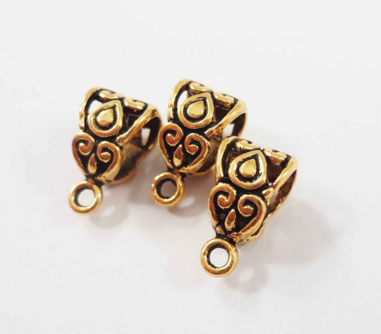 antique gold bails 13x7mm gold necklace bails jewelry bails