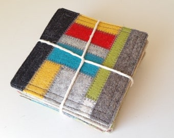 6 thick merino wool felt coasters