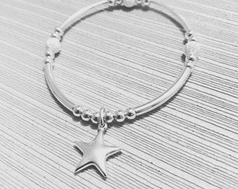 Sterling Silver Puff Star Bracelet, star bracelet, noodle, bar, silver jewellery, star jewellery, sterling silver jewellery, stack bracelet