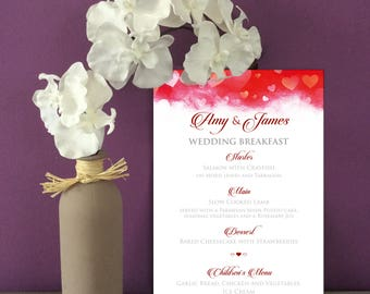 Red Hearts Wedding Menus