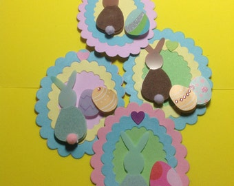 4 EASTER BUNNY TAGS, Easter, Tags, Gift or Basket Tags, Scrapbooking, Gifts
