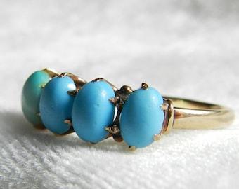 Victorian Turquoise Wedding Band Turquoise Ring 1800s Rose Gold Stacking Ring Vintage Wedding Band Persian Turquoise Ring 14K December