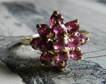 Ruby Ring 14K Gold Ruby Engagement Ring Natural Ruby July Birthday Unique Engagement Ring Pagoda Ring Harem Ring July Birthstone