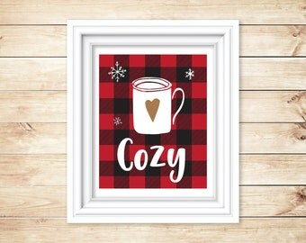 8 x 10 Cozy Red Buffalo Plaid Instant Download and Printable, Hot Cocoa, Christmas, Holiday Printable