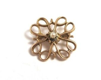 14k Yellow Gold Flower Pearl Brooch Pin - Petit Floral Pin - Pearl Pin # 2117