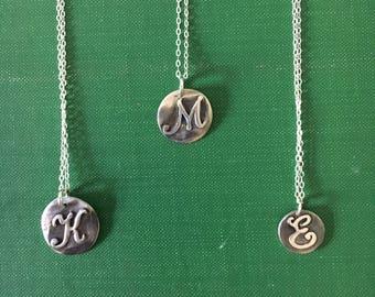 Fine silver script initial necklace