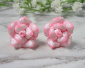 Pink Frangipani Flower Soft Ceramic Clay Stud Earrings 0206