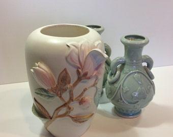Vintage Fitz and Floyd Floral Vase  1983