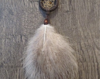 Dream Catcher Chocolate Brown Deerskin with Rare Heritage Turkey Fluffs ~ Car Mirror