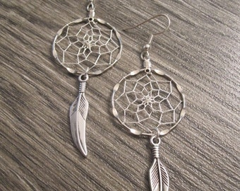 ON SALE Dream Catcher Earrings ~ Silver with Silver Plated Tribal Feather Charms